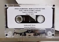 Audio Cassette Speed Calibration Test Tape